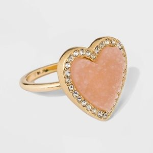 SUGARFIX by BaubleBar Druzy Heart Ring Blush Pink